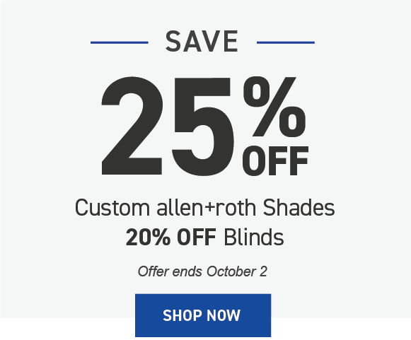 Save 20% on allen+roth blinds and shades