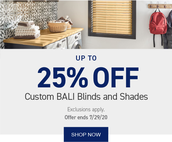 Up to 25% OFF Bali blinds and shades